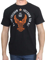 Harley Davidson Mens Freedom Eagle Vintage Black Short Sleeve Crew T Shirt $12.99