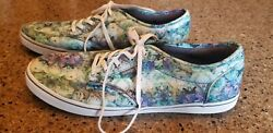 Vans Off The Wall Women#x27;s Blue Green Floral Shoe Size 10 $24.99