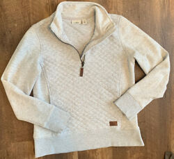 L.L. Bean Womens XS 1 4 Zip Quilted Gray Pullover Sweater $29.99