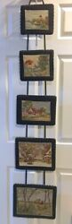 Five Panel Needlepoint Wall Hanging Antique Cottage Scenes 5 feet long $144.49