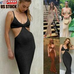 US Sexy Women Evening Party Long Dress Ladies Deep V Neck Backless Stretch Dress $20.59