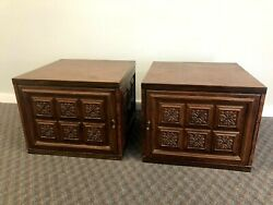 Mid Century Modern SIDE TABLE PAIR Storage vintage end accent square retro 70s $199.99