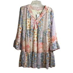Entro Patchwork Boho Dress New Lined Bell Sleeves Purple Size L V neck $29.00