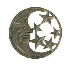 Antique Bronze Finished Cast Iron Crescent Moon and Stars Wall Hanging 11.5 $29.99
