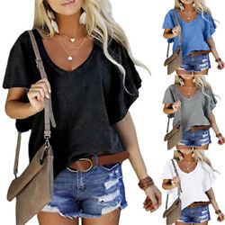 Womens Summer Casual V Neck Ruffle Short Sleeve Tops Solid T Shirt Loose Blouse $14.98