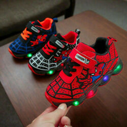Kids Boys Girls Spiderman LED Trainers Shoes Children Flashing Light Up Sneakers AU $8.98