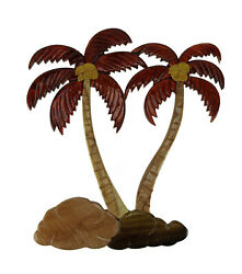 Zeckos Tropical Palm Trees Hand Crafted Intarsia Wood Art Wall Hanging $43.99