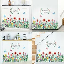DIY Living Room Home Tropical Leaves Butterfly Flower Plant Decal Wall Sticker $10.48