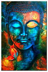 Bedroom Wall Art Buddha Decor Wall Paintings Blue Colorful Zen Canvas Prints $81.53