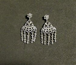 FINE 925 MARKED PAIR CHANDELIER AND MARCASITE PIERCED EARRING $29.00
