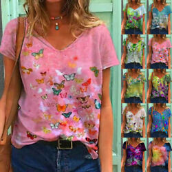 Summer Women Floral Printing Blouse Short Sleeve V Neck T Shirt Casual Loose Top $13.92