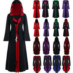 Womens Renaissance Medieval Gothic Witch Hooded Halloween Cosplay Fancy Dresses $26.02