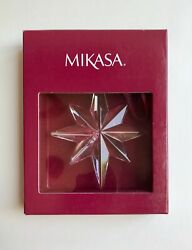 Mikasa 8 Point Star Christmas Holiday Ornament Clear Glass in Box $12.50
