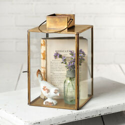 Large Hayworth Antique Brass amp; Glass Lantern For Candles or Trinkets Hinged Door $45.99