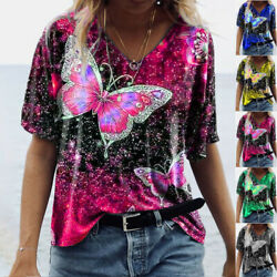 Summer Ladies Casual V Neck Short Sleeve Butterfly Print Plus Size T shirt Tops $14.48