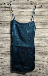 Nasty Gal After Party Teal Mini Spaghetti Strap Party Dress Women's Size Small $14.98