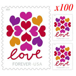 100 Pcs 2019 USPS Hearts Blossom Love Forever Stamps 5 x 1 Sheet of 20 Stamps $13.97