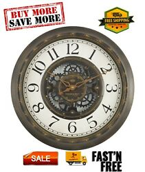 Plastic 15.5quot; Industrial Gear Wall Clock in Aged Bronze Light weight $14.09