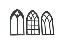 Set of 3 Black Cast Iron Gothic Cathedral Window Trivet Decorative Wall Hangings $49.99