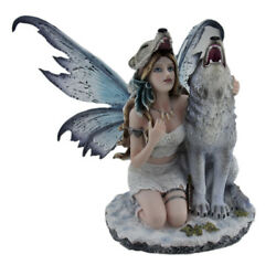 Zeckos Snow Wolf Huntress Fairy With Howling Wolf Statue $99.95