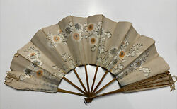 Antique Hand Painted Floral Handmade Parchment Paper String Ladies Hand Fan $18.00