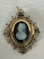 Victorian Antique Carved Cameo Onyx 14K Gold Pendant Brooch Pin $999.99
