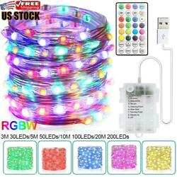 US 3 5 10 20M LED Battery Micro Rice Wire Copper Fairy String Lights Party White $10.89