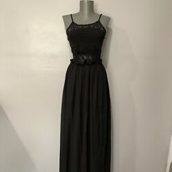 iris black maxi dress with crochet bust and open back side slit size small $19.99
