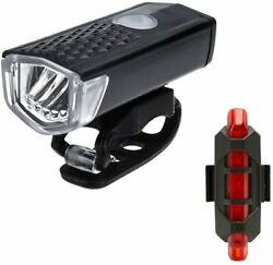 Bike Rechargeable LED Bicycle Lights with 300LM Front amp;15LM Tail Headlight Set GBP 9.95