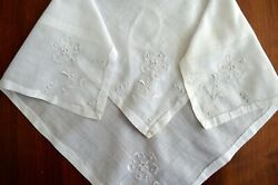 VINTAGE HANKY LINEN WHITE WEDDING EMBROIDERED FLORALS WHITE ON WHITE DEEP HEMS $3.00