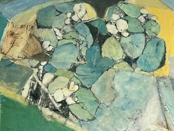 Vintage Abstract Shape Mixed Media Painting Modern Art Wall Hanging Mid Century $475.00