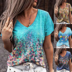 Summer Womens Short Sleeve Tops V Neck Floral Plus Loose Blouse Casual T Shirt $14.99
