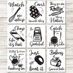 9 Pieces Kitchen Art Prints Kitchenware with Sayings Wall Art Posters Unframed $10.68