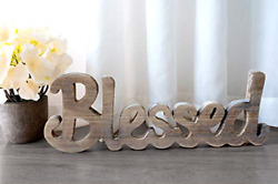 Blessed Freestanding Cutout Sign Made of Natural Wood Rustic Home Gallery Wall $17.17