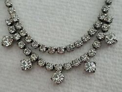 """Vintage Glass Rhinestone Necklace with cross 16"""" . 1 8quot; wide $10.00"""