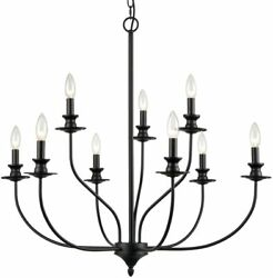 Jamp;K Modern Dining Room Metal Farmhouse Candle Style Black Chandelier 32quot; $119.95