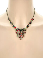 Vintage Victorian Inspired Dainty Siam Red Antique Gold Tone Necklace Earrings $11.70
