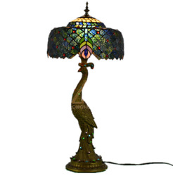 Peacock Table Lamp Tiffany Desk Light Colored Glass Bedroom Reading Lamp Fixture $177.99