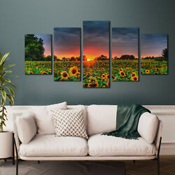 5Pcs Sunflower Canvas Wall Art for Bedroom Family Kitchen Wall Decor Modern $15.99