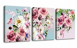 Flower Canvas Wall Art for Bedroom Woman Wall Decor Pink White Flowers Pictur... $38.21
