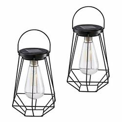 Outdoor Solar Lanterns Lamps 2 Pack Tabletop Filament LED Edison Bulbs Hanging $38.14