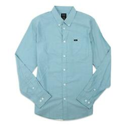RVCA Mens That#x27;ll Do Oxford Button Up L S Shirt Blue Jay M New $37.99