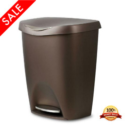 Trash Can 13 Gallon Bronze Stainless Steel With Lid Foot Pedal Kitchen Bin $55.99