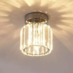 1 Light Round Chrome Ceiling LampCrystal Pendant Fixtures for Home Entryway $25.40