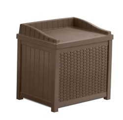 Suncast 22 Gallon Outdoor Resin Wicker Deck Storage Box with Seat Java Brown $78.23