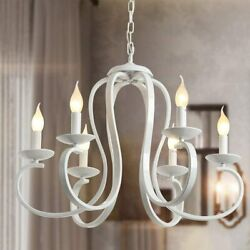 6 Light White Candle Style ChandeliersVintage Metal Pendant Chandelier Ceiling $149.50