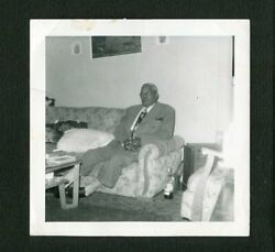 Man Nice Suit on Old Couch Liquor on Floor Vintage Photo African American 468150 $4.99
