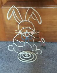 White Wire Bunny With Carrot Easter Spring Decoration $6.49