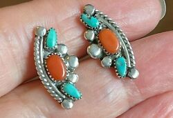 Vintage Earrings Sterling Silver .925 Turquoise Coral Crescent $27.00