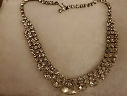 Vintage CRYSTAL RHINESTONES CHOKER Necklace 15quot; Prong Set Estate Jewelry $10.98